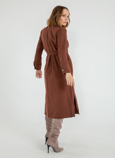 Foremia Yanı Yırtmaçlı Ceket Yaka Elbise Kiremit